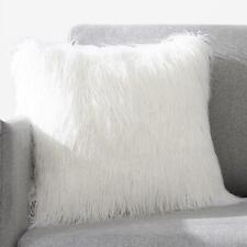 "18"" White Fluffy Faux Fur Plush Pillow Case Cover Cushion Cover Home Sofa Decor"