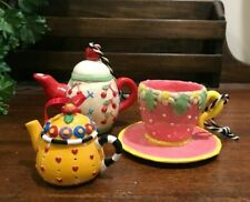Lot of 3 Mary Engelbreit Miniature Teapot and Cup Christmas Ornaments