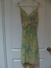 Witchery 100% silk soft yellow/green/cream floral A-line floaty dress - Size 12