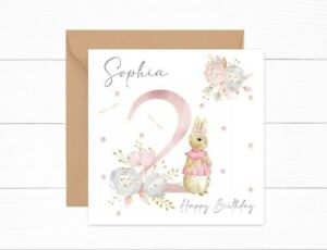 Personalised Girls Birthday Card 2nd Birthday Peter Rabbit Flopsy Two Today
