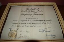 PRESIDENT HARRY S. TRUMAN  SIGNED CERTIFICATE OF APPRECIATION- SSS-5 YEARS