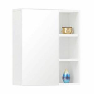 Wall Cabinet Mounted with Mirror Door Shelves Bathroom Cupboard Storage Modern