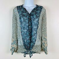 Joie Silk Peasant BoHo Blouse Womens Size Medium Long Sleeve Floral Button Front