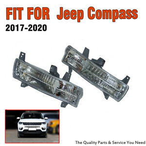 1Pair Front Bumper Corner Turn Signal Lights For Jeep Compass 2017-2020