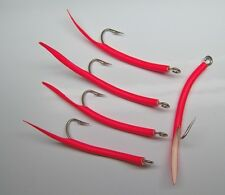 Saltwater fishing 5 pack  6/0 31022 Mustad Red Tube hooks Striper jig lure