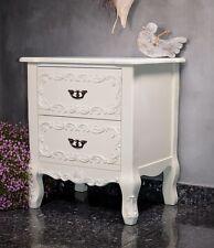 Table De Nuit Chevet Avec Tiroirs Chambre a Coucher Style Retro Vintage Blanc