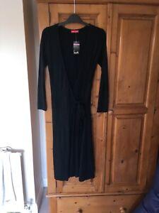 NWT John Zack black long sleeve wrap dress size 8