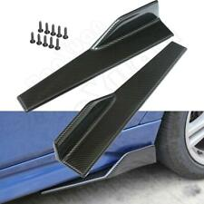 Carbon Fiber Color Car Side Anti-scratch Skirt Spoiler Rocker Splitters Kits 2PC