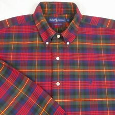 Vtg Ralph Lauren,L/S,Button DN,Multi-Color Plaid,Heavy Oxford Men's Shirt Sz. XL