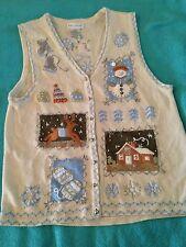 White Stag Christmas Sweater Vest Snowmen Jingle Bells! Size Medium