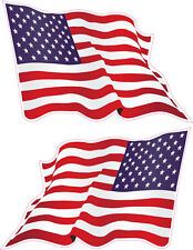 2x Grand American Wavy Flag Vinyle Voiture Van Ipad Laptop Casque Autocollant