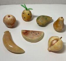 Vintage Alabaster Marble Stone Fruit Lot of 7 Life Size Realistic Mid Century