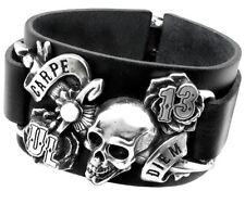 Genuine Alchemy Gothic Carpe Diem Leather Bracelet ULA7
