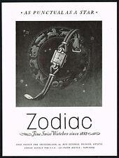 1940s Old Vintage 1948 Zodiac Ladies Swiss Watch Astrology Art Print Ad