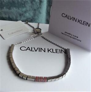 CALVIN KLEIN STAINLESS STEEL RED CRYSTAL CUBE SLIDER BRACELET BNWT BOX RRP£89.00