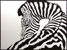 """C. Vansen """"Zebra"""" Signed Numbered Serigraph b&w wild animals Africa MAKE OFFER!"""