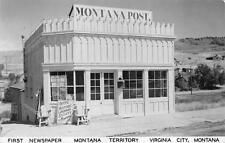 RPPC MONTANA POST FIRST NEWSPAPER VIRGINIA CITY MONTANA REAL PHOTO POSTCARD