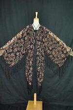 Art to Black Brown Color Flower Burnout Velvet Fringe Kimono Opera Coat Duster