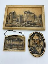 Set of 3 IVOREX Plaques Dickens, The Forum Rome, The Old Curiosity Shop