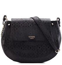 GUESS Luxury Handbag Ladies Marian Black Saddle Cross bodyDesigner Bag Purse USA