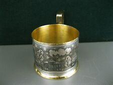 Russian SILVER 875 Glass Holder PODSTAKANNIK #3 NIELLO GOLD plated Tea Cup USSR