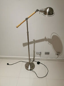 IKEA style Floor lamp Stainless frame and timber handle