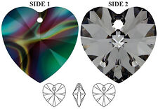 2 SWAROVSKI CRYSTAL XILION GLASS HEART PENDANTS 6228, CRYSTAL RAINBOW, 10 MM