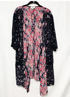 Umgee Floral Long Kimono Duster Cardigan Color Block Size Small Dolman