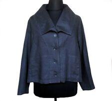 FLAX Jacket Blouse 100% Linen Black Plus 1G 1X NWT