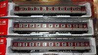 RIVAROSSI SET 3 carrozze tipo '59 Rosso fegato/grigio beige, ESPRESSO FS