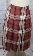Vintage Rally Klad Scotland 12 Red Green Wool Plaid Pleated Lined Skirt