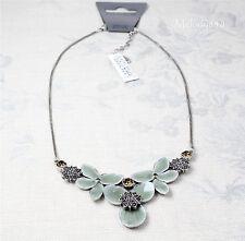 PILGRIM STAR FLOWER Necklace Silver/Grey Blue Enamel/ Topaz Brown Swarovski BNWT