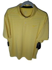 Nike Dri-Fit Polo Golf Shirt Size XL Men's Yellow Short Sleeve AT8876-703