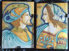 Two super rare stunning Italian ornamental Majolica wall tiles by Deruta