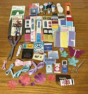 60+ Piece Vintage Sewing Notions Lot Supplies Bias Tape Seam Binding Scissors
