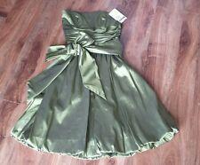 "Women's NEW ""David's Bridal"" Olive Green Bridesmaid Dress Knee Length - size 4"