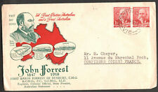 Australia 1949 - Lord John Forest - 2 1/2 d Pair Stamp - Sent to France