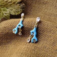 Exquiste Anthropologie Blue Enamel Coral Rhinestone Earrings