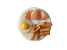 Dolls House Gammon Egg & Chips on a Plate Miniature Dining Room Accessory 1:12