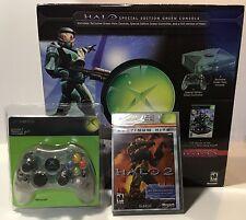 XBOX ORIGINAL HALO GREEN CONSOLE, HALO 2 & CONTROLLER S BUNDLE! NEW/SEALED! RARE