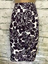 Boden Purple & White Floral Silk Skirt UK 16L