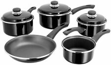 5 PIECE BLACK ALL HOBS INDUCTION READY TEFLON NON STICK OVEN SAFE PAN SET