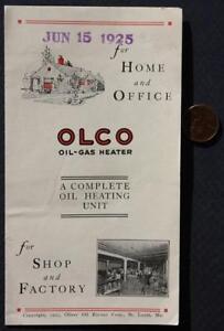 1925 St. Louis Missouri OLCO Oliver Oil-Gas Heater stoves VINTAGE brochure-NICE!