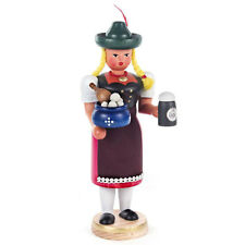 Wooden Standing Bavarian Lady Waitress Incense Burner Smoker Made In Germany
