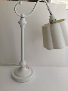"White Study Desk Lamp Crafts Reading Bedside Lamp 19.5"" Tall Shade Included"