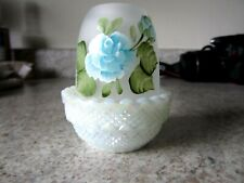 """Mosser Glass White Carnival / Crystal Satin Handpainted """"Blue Floral"""" Fairy Lamp"""