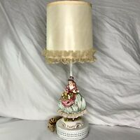 Vintage Italian Capodimonte Porcelain Table Lamp Lady Figurine Italy Shabby Chic
