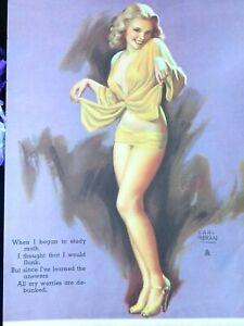 VINTAGE 1940s EARL MORAN Pin-up ART CALENDAR page February 1947  BLONDE 8 x 14