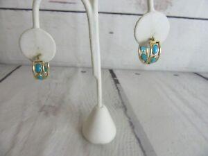 "14K Yellow Gold Huggie Hoop Earrings Turquoise Stones Signed  3/4""  2 GR"