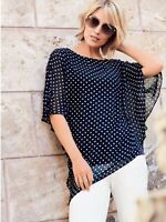 Kaleidoscope Womens Navy White Spot Chiffon Batwing Top Shirt Size 10